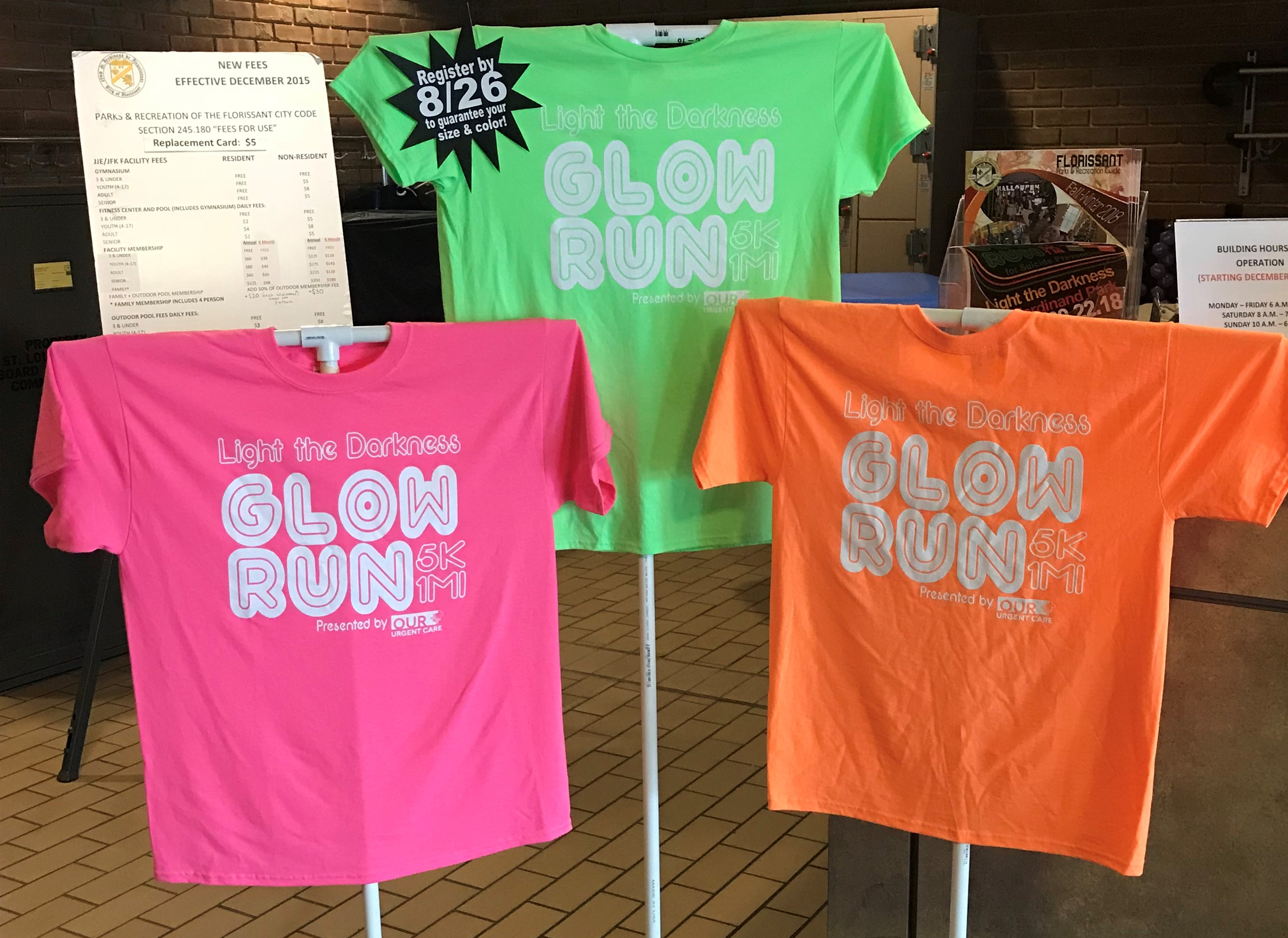 8314f163 glow shirts. Packet Pick up will take place at the JFK Community Center  located at 315 Howdershell Rd Florissant, MO 63031 on Wednesday September  19th from ...